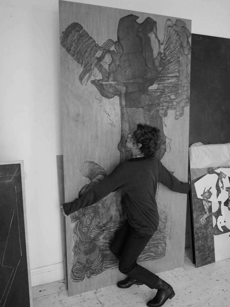 Susann Brännström in her studio